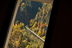 11.10.2010, Gedenkstätte, Kaprun, AUT, 10 Jahre Kaprun Katastrophe, Features, am 11.11. 2010 jährt sich die Brandkatastrophe von Kaprun das 10. Mal. Bei diesem Unglück mussten 155 Menschen ihr Leben lassen, im Bild Sicht aus dem Fenster der Gedenktstätte in Richtung des Schrägaufzuges und der Tunneleinfahrt, wo sich die Tragödie erreignete, EXPA Pictures © 2010, PhotoCredit: EXPA/ J. Feichter / SPORTIDA PHOTO AGENCY