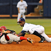 Georgia's Sean McLaughlin (3) slides safely into second past Mississippi shortstop Errol Robinson during an NCAA college baseball game in Oxford, Miss., Friday, May 9, 2014. (Photo/Thomas Graning)