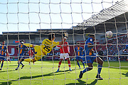 Shrewsbury Town Goal keeper Max O'Leary (25) makes save during the EFL Sky Bet League 1 match between Rotherham United and Shrewsbury Town at the AESSEAL New York Stadium, Rotherham, England on 21 September 2019.