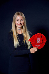 NEWPORT, WALES - Saturday, May 27, 2017: Gemma Prosser with her Under-16 Wales cap at the Celtic Manor Resort. (Pic by David Rawcliffe/Propaganda)