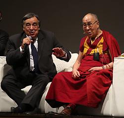Press conference of the Dalai Lama hotel Borsa and after Massimo theater in Palermo. 18 Sep 2017 Pictured: Dalai Lama, LEOLUCA ORLANDO. Photo credit: Fotogramma / MEGA TheMegaAgency.com +1 888 505 6342
