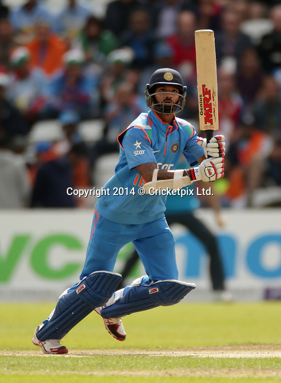 Shikhar Dhawan bats during the third Royal London One Day International between England and India at Trent Bridge, Nottingham. Photo: Graham Morris/www.cricketpix.com (Tel: +44 (0)20 8969 4192; Email: graham@cricketpix.com) 300814