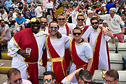 Fans dressed in Roman togas during the International Test Match 2019 match between England and Australia at Edgbaston, Birmingham, United Kingdom on 3 August 2019.