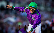 May 03, 2014: Victor Espinoza celebrates a win aboard California Chrome in the 140th running of the Kentucky Derby at Churchill Downs Louisville Ky. Alex Evers/ESW/CSM