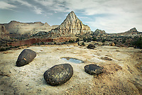 Pectols Pyramid with lava blouders in the foreground, Capitol Reef National Park Utah