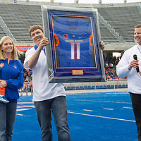 football, Blue and Orange Game,  Pregame tribute to former Bronco quarterback Kellen Moore,  John Kelly photo