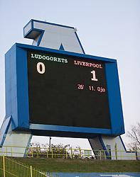 SOFIA, BULGARIA - Wednesday, November 26, 2014: The scoreboard during the UEFA Youth League Group B match at the Georgi Asparuhov Stadium. (Pic by David Rawcliffe/Propaganda)