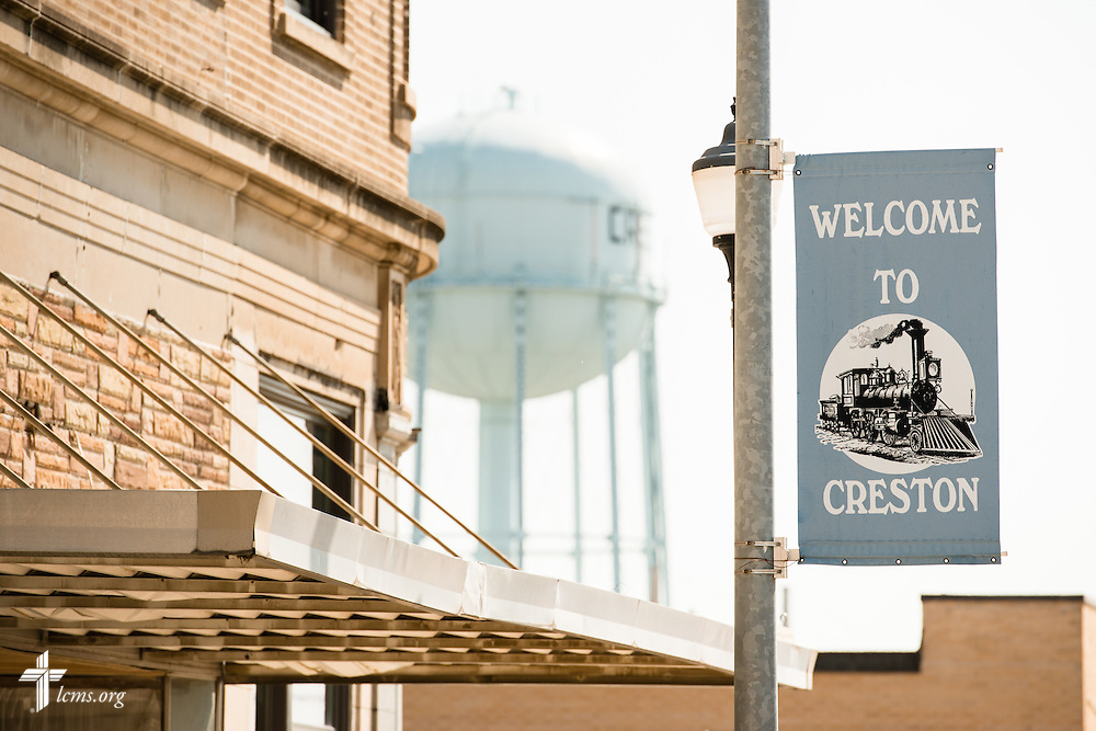 A water tower sets the backdrop of downtown Creston, Iowa, on Saturday, Aug. 15, 2015. LCMS Communications/Erik M. Lunsford