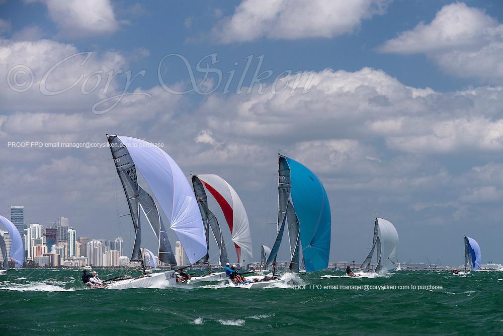 Ninkasi and DP, Melges 20 Class, sailing in Bacardi Miami Sailing Week, day five.