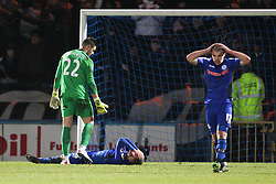 Rochdale's Matt Done reacts after missing a chance - Photo mandatory by-line: Matt McNulty/JMP - Mobile: 07966 386802 - 26/01/2015 - SPORT - Football - Rochdale - Spotland Stadium - Rochdale v Stoke City - FA Cup Fourth Round