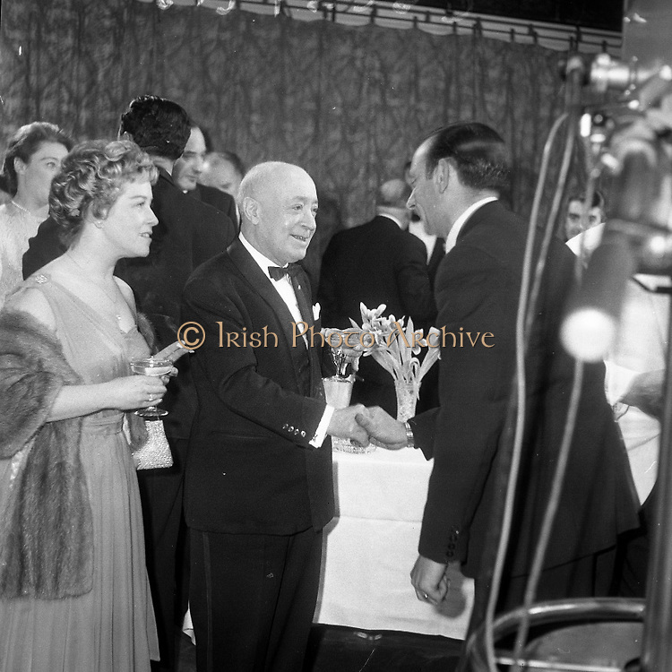 Inauguration of Teilifís Eireann, Montrose..1961..31.12.1961..12.31.1961..31st December 1961..Today saw the inaugeration and official opening of Telifís Éireann. Many dignitaries from the political,religious and entertainment life attended at the ceremony. ..Picture shows Mr Jimmy O'Dea (centre) the well known entertainer was amongst the invited guests at the inaugeration.