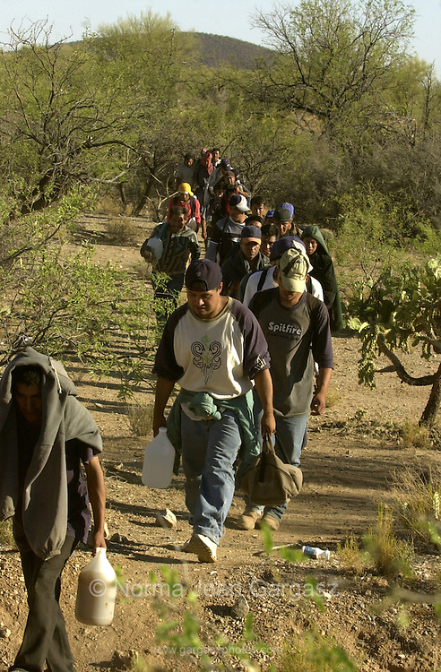 42 illegal immigrants who crossed from Mexico on to the Tohono O'odham Nation in Arizona head north in temperatures exceeding 105 degrees through the deadliest stretch along the border near Little Tucson.