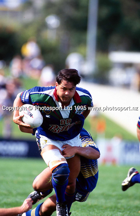 Jason Mackie in action for the Warriors during the rugby league Winfield Cup match against the Eels, 1995. Photo: PHOTOSPORT