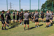 FGR squad before the start of pre-season training during the first day back at training for Forest Green Rovers at the New Lawn, Forest Green, United Kingdom on 2 July 2018. Picture by Shane Healey.