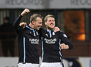 Jim McAlister is congratulated after scoring by David Clarkson - Dundee v Ross County, SPFL Premiership at Dens Park<br /> <br />  - &copy; David Young - www.davidyoungphoto.co.uk - email: davidyoungphoto@gmail.com