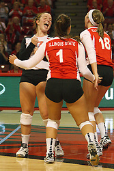 22 September 2012:  Jenny Menendez, Sierra Burris nd Kaitlyn Early celebrate after a point during an NCAA womens volleyball match between the Bradley Braves and the Illinois State Redbirds at Redbird Arena in Normal IL