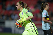 Karen Bardsley (GK) (England) runs to the edge of the box to throw the ball out during the Euro 2017 qualifier between England Ladies and Belgium Ladies at the New York Stadium, Rotherham, England on 8 April 2016. Photo by Mark P Doherty.