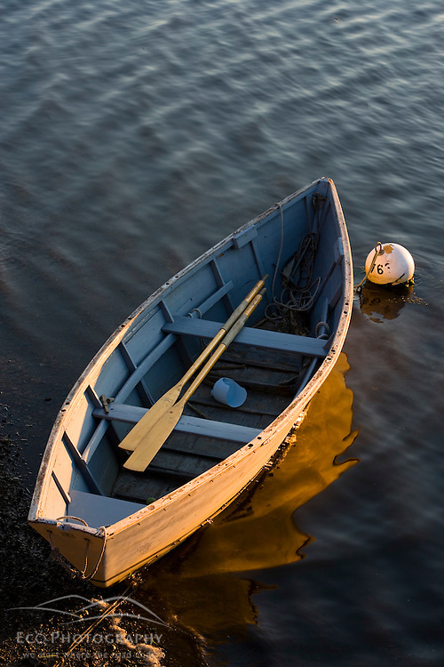 A skiff tied up in Annisquam Harbor in Gloucester Massachusetts USA