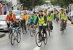 As part of Westport Smarter Travel&rsquo;s programme of activities for European Mobility Week a fun cycle open to all bike users and the public, took place through the streets of Westport on saturday last.<br />Covey Wheeler Eimear Harrison who jost recently successful raced in Ras na mBan lead the cyclists on their route.<br />Pic Conor McKeown