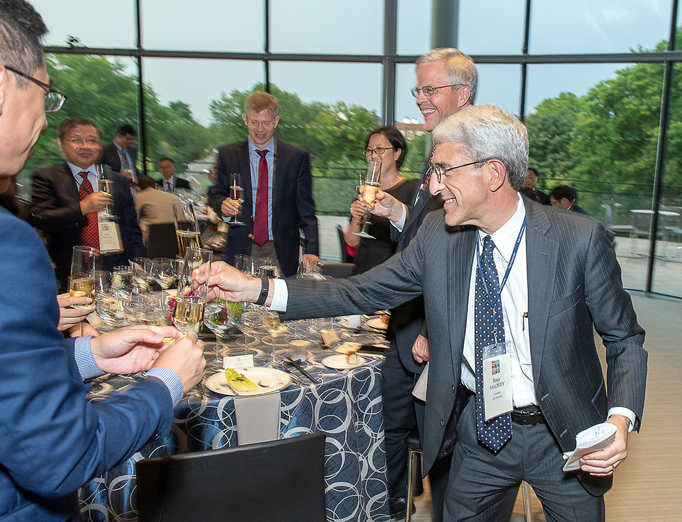 Photography ©Mara Lavitt<br /> August 8, 2018<br /> Beincke Terrace Room, Evans Hall, Yale School of Management<br /> <br /> The Yale University President's Office hosted a dinner for participants of the China-Yale Advanced University Leadership Program.