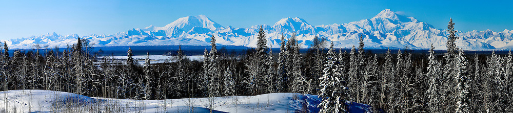A panoramic shot of the Alaska Range with Mt. Foraker on the left and Denali on the right, from Talkeetna, Alaska.