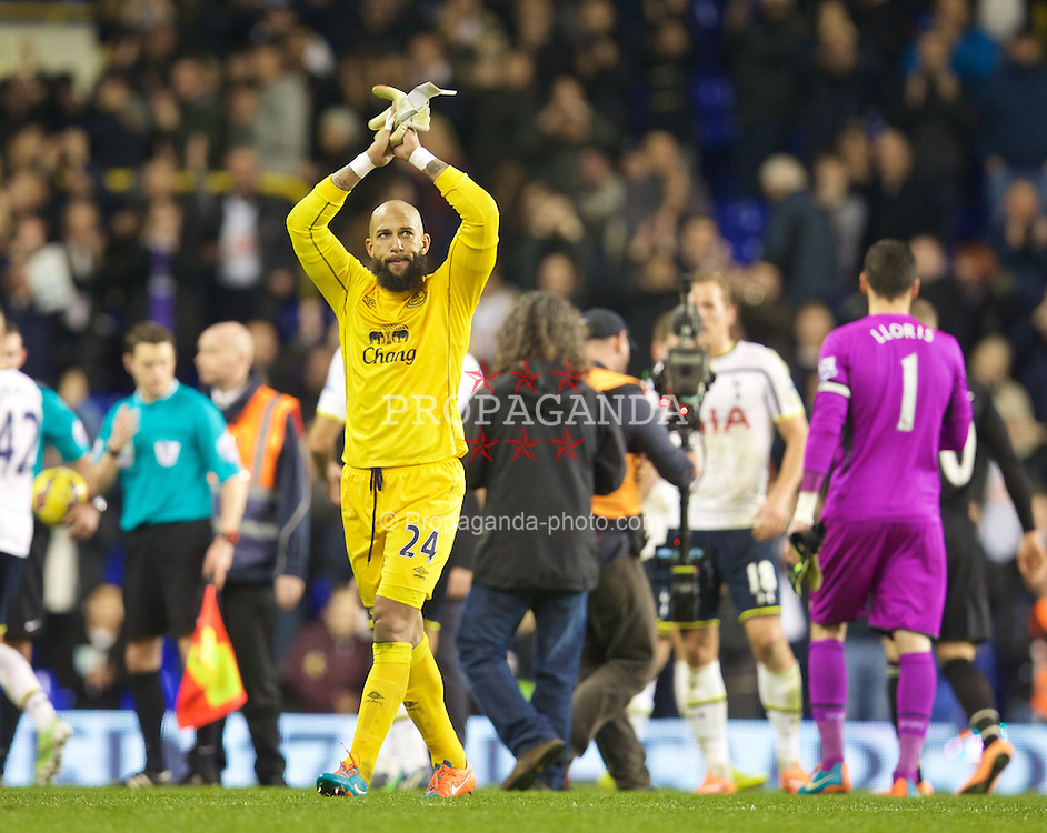 LONDON, ENGLAND - Sunday, November 30, 2014: Everton's goalkeeper Tim Howard looks dejected as his side lose 2-1 to Tottenham Hotspur during the Premier League match at White Hart Lane. (Pic by David Rawcliffe/Propaganda)