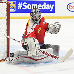 WHITBY, - Dec 15, 2015 -  WJAC Game 6- Team Russia vs Team Switzerland at the 2015 World Junior A Challenge at the Iroquois Park Recreation Complex, ON. Matteo Ritz #30 of Team Switzerland blocks the shot during the third period.(Photo: Andy Corneau / OJHL Images)