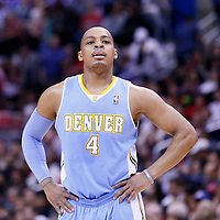 15 April 2014: Denver Nuggets guard Randy Foye (4) rests during the Los Angeles Clippers 117-105 victory over the Denver Nuggets at the Staples Center, Los Angeles, California, USA.
