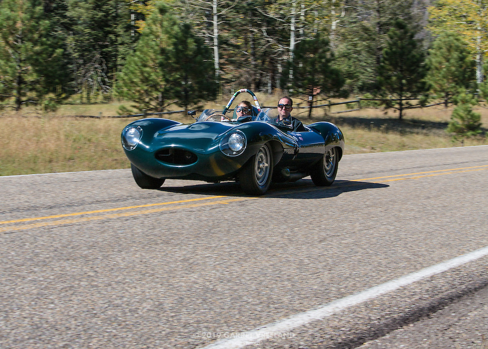 1956 Jaguar D-type zooming by, on the 2012 Santa Fe Concorso High Mountain Tour.