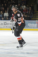 KELOWNA, CANADA, FEBRUARY 17: Victor Rask #23 of the Calgary Hitmen skates with the puck at the Kelowna Rockets on February 17, 2012 at Prospera Place in Kelowna, British Columbia, Canada (Photo by Marissa Baecker/Shoot the Breeze) *** Local Caption ***