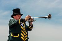 Bugler calls the start of each race, horse racing at Keeneland Racecourse, Lexington, Kentucky USA.