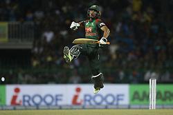 March 16, 2018 - Colombo, Sri Lanka - Bangladesh cricketer Mahmudullah Riyad leaps in the air in celebration after winning the 6th T20 cricket match of NIDAHAS Trophy between Sri Lanka  and Bangladesh at R Premadasa cricket ground, Colombo, Sri Lanka on Friday 16 March 2018. (Credit Image: © Tharaka Basnayaka/NurPhoto via ZUMA Press)