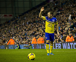 WEST BROMWICH, ENGLAND - Monday, January 20, 2014: Everton's Leighton Baines in action against West Bromwich Albion during the Premiership match at the Hawthorns. (Pic by David Rawcliffe/Propaganda)