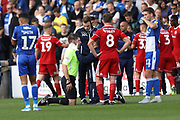 Referee injured during the EFL Sky Bet League 1 match between Bristol Rovers and Accrington Stanley at the Memorial Stadium, Bristol, England on 7 September 2019.