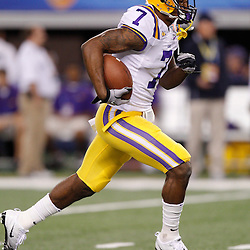 Jan 7, 2011; Arlington, TX, USA; LSU Tigers cornerback Patrick Peterson (7) during warm ups prior to kickoff against the Texas A&M Aggies in the 2011 Cotton Bowl at Cowboys Stadium.  Mandatory Credit: Derick E. Hingle