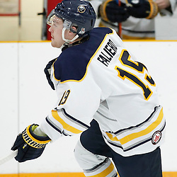TRENTON, ON - NOV 10:  Andrew Pizzo #15 of the Buffalo Jr. Sabres during the OJHL regular season game between the  Buffalo Jr Sabres and Trenton Golden Hawks on November 10, 2016 in Trenton, Ontario. (Photo by Amy Deroche/OJHL Images)