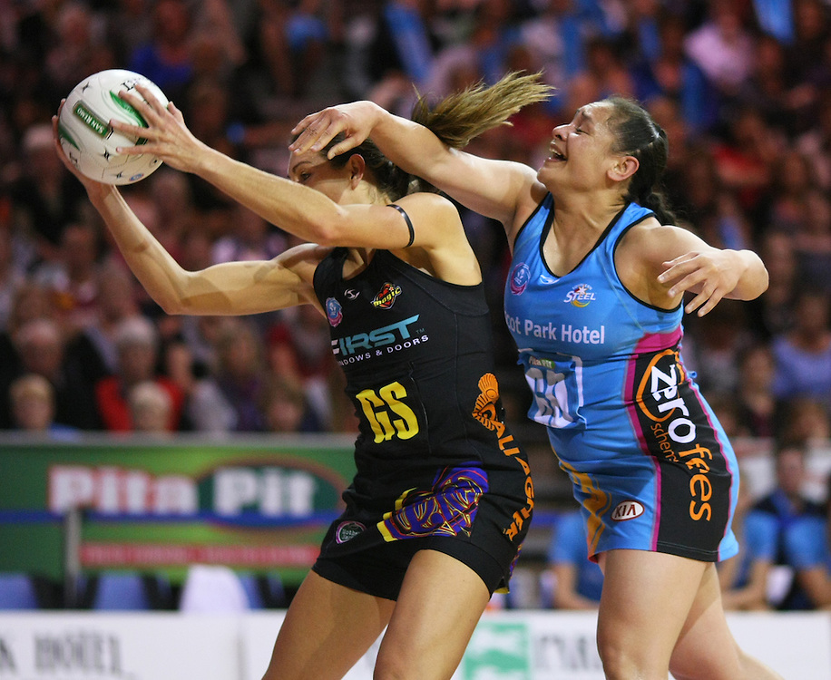Magic's Irene Van Dyk, left, and Southern Steel's Sheryl Scanlan contest for the ball in the ANZ Netball Championships at Invercargill Velodrome, Invercargill, New Zealand, Monday, April 02, 2012. Credit:SNPA / Dianne Manson