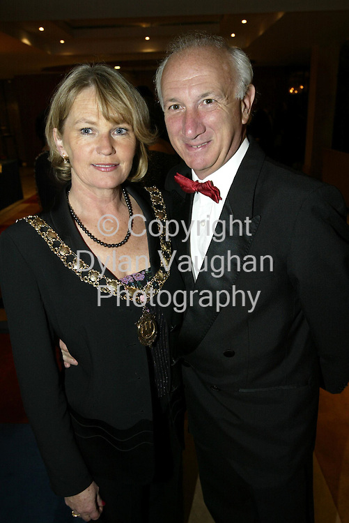 21/10/2002.Pictured at the Chairwomans Ball in aid of the Irish Wheelchair Association at the Kilkenny Ormonde Hotel was  Betty Manning Mayor of Kilkenny and Tom Manning Manning Travel..picture Dylan Vaughan