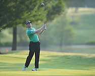 Golfer John Senden swings on the first hole at the PGA FedEx St. Jude Classic at TPC Southwind in Memphis, Tenn. on Thursday, June 9, 2011.