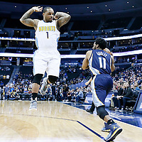 01 February 2016: Denver Nuggets guard Jameer Nelson (1) defends on Memphis Grizzlies guard Mike Conley (11) during the Memphis Grizzlies 119-99 victory over the Denver Nuggets, at the Pepsi Center, Denver, Colorado, USA.