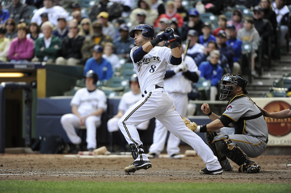 MILWAUKEE - APRIL 28:  Ryan Braun #8 of the Milwaukee Brewers bats against the Pittsburgh Pirates on April 28, 2010 at Miller Park in Milwaukee, Wisconsin.  The Pirates defeated the Brewers 6-5 in 14 innings.  (Photo by Ron Vesely)
