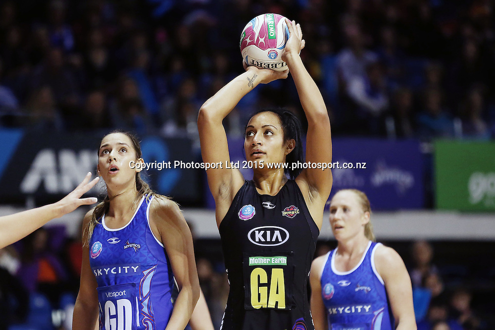 Malia Paseka of the Magic in action. 2015 ANZ Championship Conference Final, Northern Mystics v WBOP Magic, The Trusts Arena, Auckland, New Zealand. 8 June 2015. Photo: Anthony Au-Yeung / www.photosport.co.nz