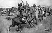 Boers charging Major Gough's force at Blood River.  2nd Boer War 1899-1902.