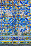 Traditional Portuguese tiles, azulejos, on a wall in Porto, Portugal