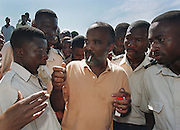 Haitian presidential hopeful, Rene Preval campaigns in Port au Prince. US and UN troops arrive in Haiti as the first election since the coup and embargo that displaced Jean Bertrand Aristide takes place and Rene Preval is elected president. Port au Prince, Haiti, 1996.