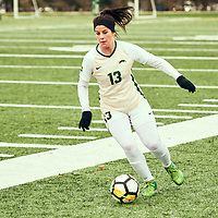 4th year forward, Sydney Langen (13) of the Regina Cougars during the Women's Soccer home game on Sat Oct 13 at U of R Field. Credit: Arthur Ward/Arthur Images