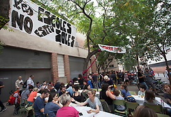 © Licensed to London News Pictures. 26/04/2016. BARCELONA, SPAIN.  <br /> Families and friends occupy the CEIP Josep Maria Jujol school that will be used as polling  stations for the independence referendum that is set to take place on Sunday 1st October 2017. The government have told the police to close down the schools at 0600 hours on the 1st October.  The Spanish government have deemed the referendum illegal and against the constitution of Spain.<br /> Photo credit: RICH BOWEN/ LNP