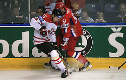 Dany Heatley (15) of Canada vs Fedor Tyutin (51) of Russia at  ice-hockey game Canada vs Russia at finals of IIHF WC 2008 in Quebec City,  on May 18, 2008, in Colisee Pepsi, Quebec City, Quebec, Canada. Win of Russia 5:4 and Russians are now World Champions 2008. (Photo by Vid Ponikvar / Sportal Images)