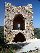 Monfort A Crusader castle in Western Galilee, Israel The ruins of the once splendid Montfort Crusader castle, are located on a precipitous rock crest, overlooking the Keziv river. The castle was constructed by Templar Crusader knights in the early 12th century. Short after completion the building was destroyed by Salah al Din after the defeat of the Crusaders at the Horns of Hittim on 3-4 July 1187.<br /> <br /> Five years later, the castle was re-conquered by the Crusaders, who restored it. In 1220, Montfort was sold to the Crusader Knights of the German Teutonic Order and gave it the name &quot;Starkenberg&quot; which means strong mountain