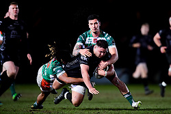 Guinness PRO14, Rodney Parade, Newport, UK 06/03/2020<br /> Dragons vs Benetton Rugby<br /> Josh Reynolds of Dragons is challenged by Charly Trussardi of Benetton Rugby and Marco Zanon of Benetton Rugby<br /> Mandatory Credit ©INPHO/Ryan Hiscott